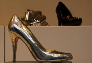 high heel shoe silver