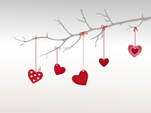 branch with love hearts valentines